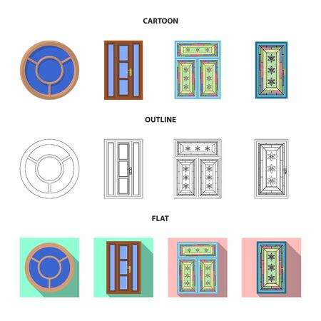 Vector design of door and front logo. Collection of door and wooden stock vector illustration.