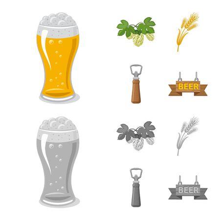 Vector design of pub and bar icon. Set of pub and interior stock symbol for web.  イラスト・ベクター素材