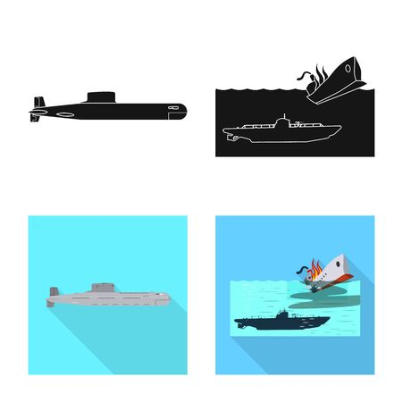 Vector illustration of war and ship icon. Set of war and fleet stock vector illustration. Vettoriali