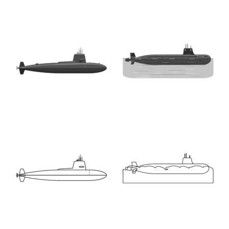 Vector illustration of war and ship. Set of war and fleet stock vector illustration.