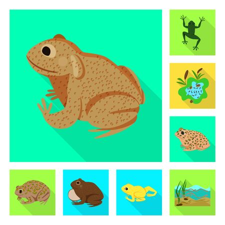 Vector design of wildlife and bog . Collection of wildlife and reptile