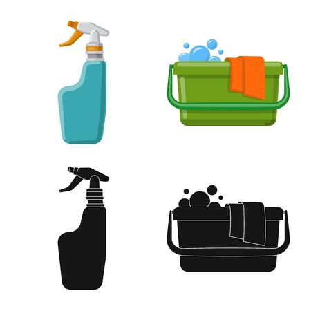 Vector design of cleaning and service icon. Collection of cleaning and household vector icon for stock.