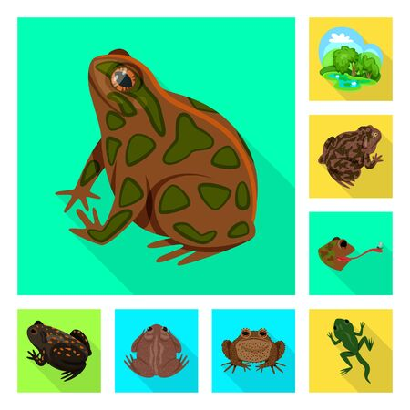 Vector design of wildlife and bog icon. Set of wildlife and reptile vector icon for stock.