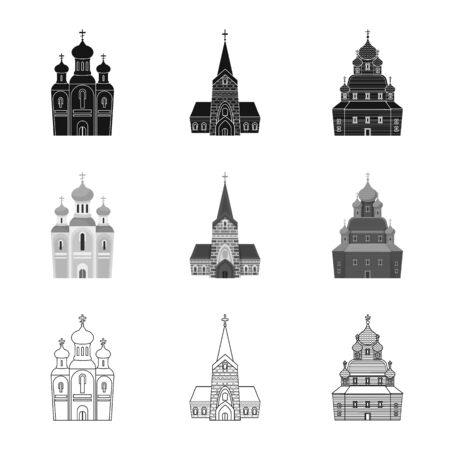 Vector illustration of cult and temple icon. Collection of cult and parish vector icon for stock. 矢量图像