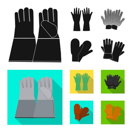 Vector design of glove and winter symbol. Collection of glove and equipment stock vector illustration.