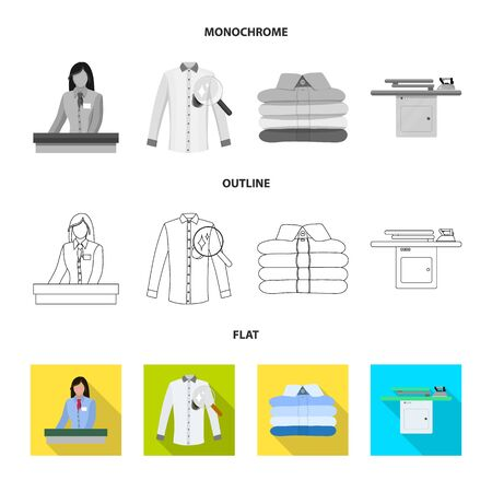 Vector design of laundry and clean icon. Collection of laundry and clothes stock symbol for web. Vettoriali