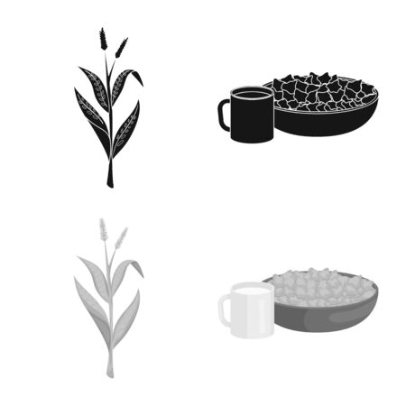 Vector illustration of cornfield and vegetable icon. Set of cornfield and vegetarian vector icon for stock. Çizim