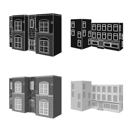 Vector illustration of facade and housing. Collection of facade and infrastructure stock vector illustration.