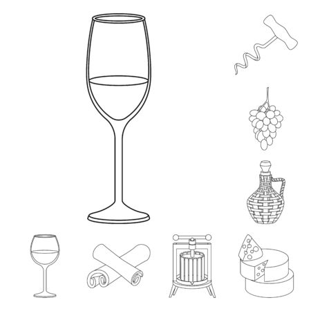 Isolated object of drink and manufacturing icon. Set of drink and restaurant stock vector illustration. Иллюстрация