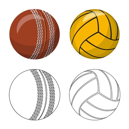 Vector design of sport and ball. Collection of sport and athletic vector icon for stock. Vettoriali