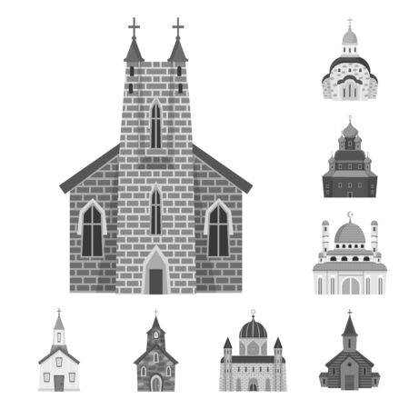 Vector design of architecture and faith icon. Set of architecture and traditional vector icon for stock. 矢量图像