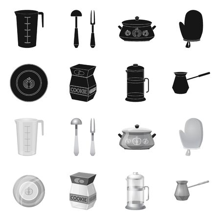 Vector design of kitchen and cook symbol. Collection of kitchen and appliance vector icon for stock. Illustration