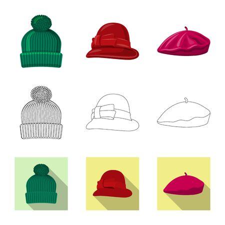 Vector illustration of headgear and cap. Collection of headgear and accessory stock vector illustration.