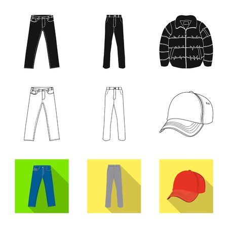 Vector illustration of man and clothing icon. Collection of man and wear stock symbol for web. Иллюстрация