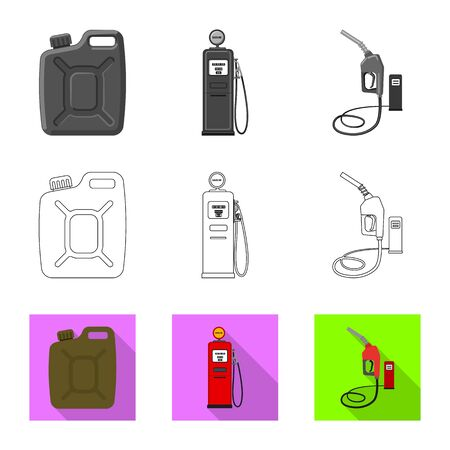 Vector design of oil and gas. Collection of oil and petrol vector icon for stock. Illustration
