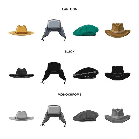 Vector design of headgear and cap symbol. Set of headgear and accessory stock vector illustration.