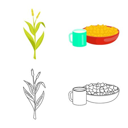 Vector design of cornfield and vegetable sign. Set of cornfield and vegetarian stock vector illustration. Çizim