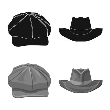 Vector illustration of headgear and cap sign. Collection of headgear and accessory stock vector illustration. Illustration