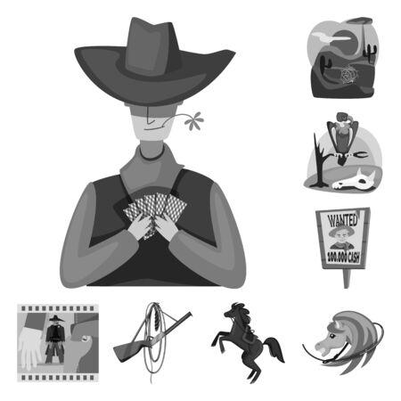 Objeto aislado de rancho y finca. Conjunto de símbolo de stock de rancho e historia para web. Ilustración de vector