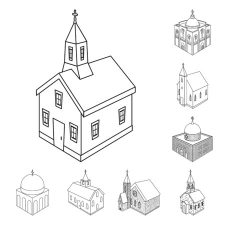 Vector design of architecture and building symbol. Set of architecture and clergy stock vector illustration.