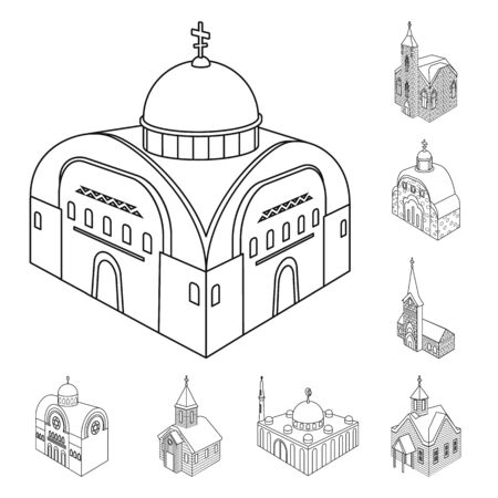 Isolated object of architecture and building sign. Set of architecture and clergy vector icon for stock. 向量圖像