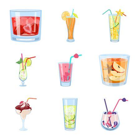 Diseño vectorial de icono de cóctel y bebida. Colección de ilustración de vector stock cóctel y hielo.