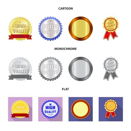 Isolated object of emblem and badge. Set of emblem and sticker stock symbol for web. Stock Illustratie
