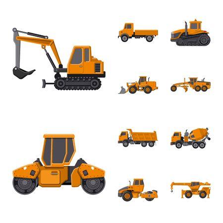 Vector design of build and construction icon. Collection of build and machinery vector icon for stock. Vetores