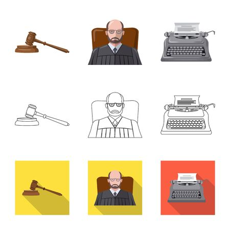 Vector illustration of law and lawyer symbol. Collection of law and justice stock vector illustration. Ilustracja