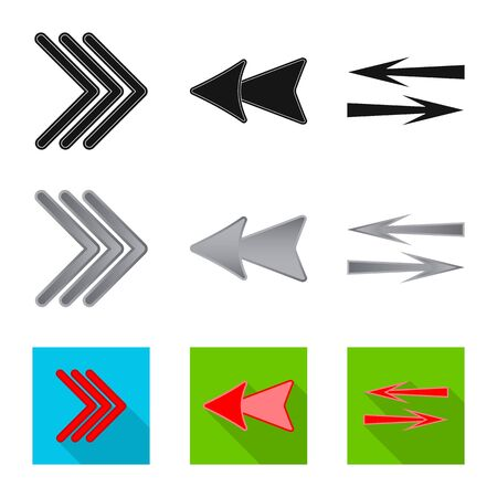 Vector design of element and arrow. Set of element and direction vector icon for stock.