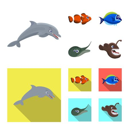 Isolated object of sea and animal. Collection of sea and marine stock symbol for web. Vectores