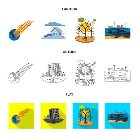 Vector design of natural and disaster. Collection of natural and risk vector icon for stock.