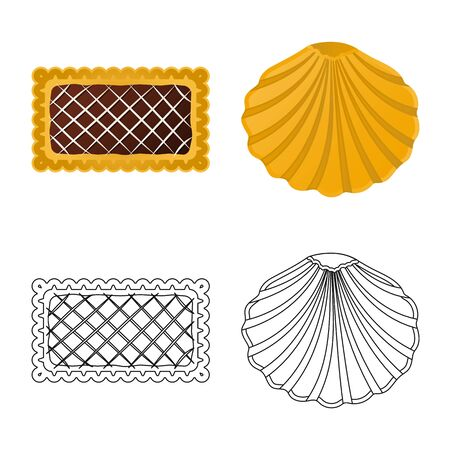 Vector illustration of biscuit and bake sign. Set of biscuit and chocolate vector icon for stock. 矢量图像