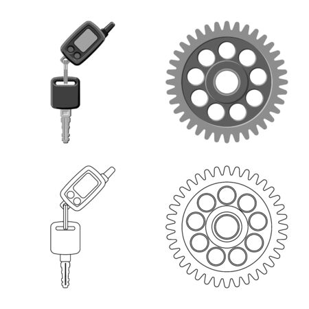 Isolated object of auto and part icon. Collection of auto and car stock vector illustration. Illustration