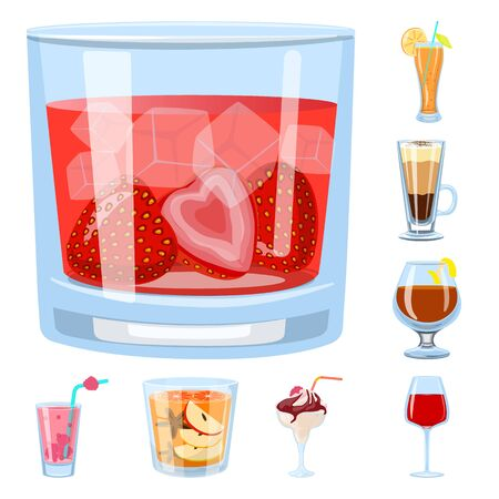 Vector design of cocktail and drink sign. Collection of cocktail and ice stock vector illustration.