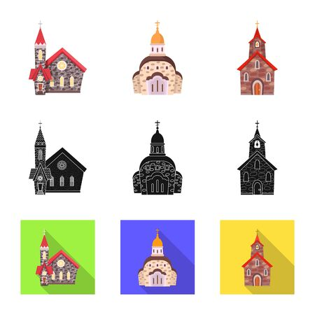 Vector design of cult and temple icon. Set of cult and parish stock vector illustration. 矢量图像