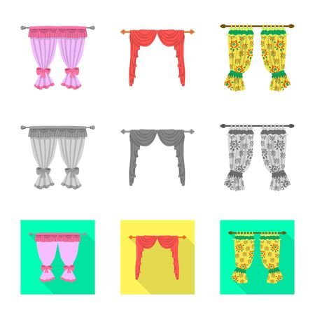 Vector design of curtains and drapes. Set of curtains and blinds stock symbol for web.