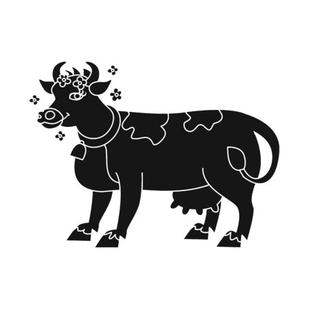 Isolated object of cow and milk icon. Set of cow and dairy stock vector illustration. Çizim