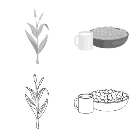 Isolated object of cornfield and vegetable logo. Set of cornfield and vegetarian vector icon for stock.