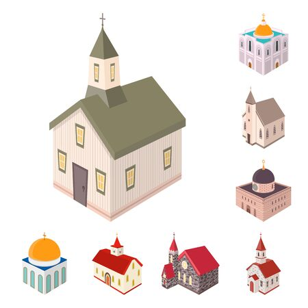 Vector illustration of architecture and building symbol. Collection of architecture and clergy stock vector illustration.