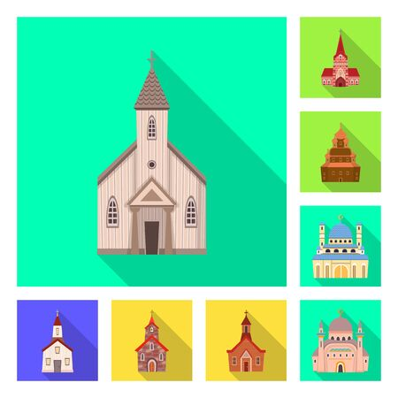 Isolated object of cult and temple. Collection of cult and parish vector icon for stock.