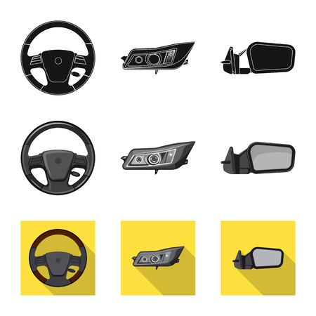 Vector design of auto and part sign. Collection of auto and car stock symbol for web.