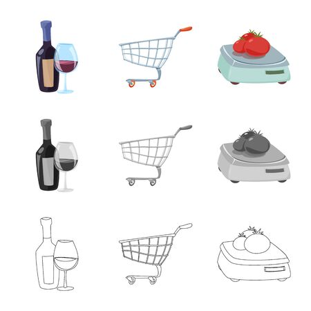 Vector design of food and drink. Collection of food and store vector icon for stock. Illustration