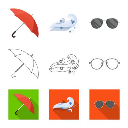 Vector design of weather and climate. Collection of weather and cloud stock symbol for web.