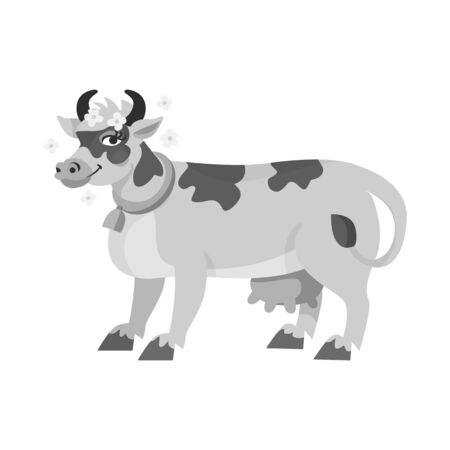 Vector illustration of cow and milk icon. Collection of cow and dairy stock symbol for web.