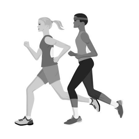 Vector illustration of success and marathon. Set of success and winner stock vector illustration.