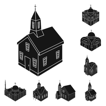 Isolated object of parish and faith. Collection of parish and building stock vector illustration. 向量圖像