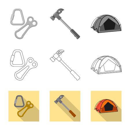 Isolated object of mountaineering and peak. Set of mountaineering and camp vector icon for stock.
