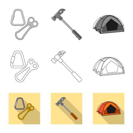 Isoliertes Objekt des Bergsteigens und des Gipfels. Satz von Bergsteigen und Lagervektorsymbol für Lager.