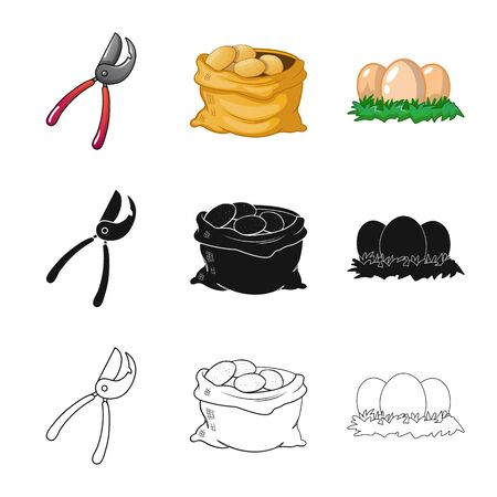 Isolated object of farm and agriculture. Set of farm and plant vector icon for stock.